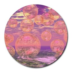 Glorious Skies, Abstract Pink And Yellow Dream 8  Mouse Pad (round) by DianeClancy