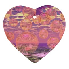 Glorious Skies, Abstract Pink And Yellow Dream Heart Ornament by DianeClancy