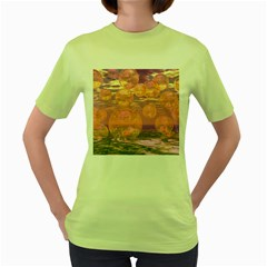 Glorious Skies, Abstract Pink And Yellow Dream Women s T-shirt (green) by DianeClancy