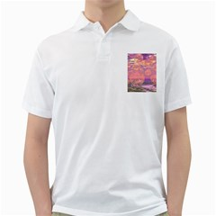 Glorious Skies, Abstract Pink And Yellow Dream Men s Polo Shirt (white) by DianeClancy