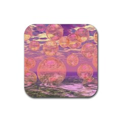 Glorious Skies, Abstract Pink And Yellow Dream Drink Coaster (square) by DianeClancy