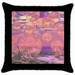 Glorious Skies, Abstract Pink And Yellow Dream Black Throw Pillow Case Front