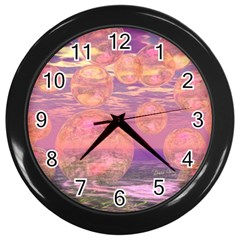Glorious Skies, Abstract Pink And Yellow Dream Wall Clock (black) by DianeClancy