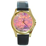 Glorious Skies, Abstract Pink And Yellow Dream Round Leather Watch (Gold Rim)  Front
