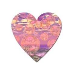 Glorious Skies, Abstract Pink And Yellow Dream Magnet (heart) by DianeClancy