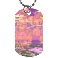 Glorious Skies, Abstract Pink And Yellow Dream Dog Tag (two Sided)  by DianeClancy