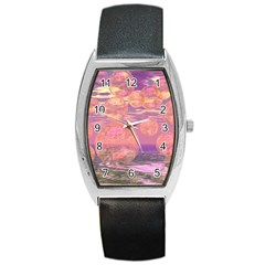 Glorious Skies, Abstract Pink And Yellow Dream Tonneau Leather Watch by DianeClancy