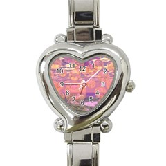Glorious Skies, Abstract Pink And Yellow Dream Heart Italian Charm Watch  by DianeClancy