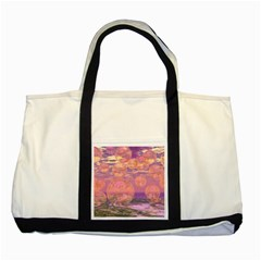 Glorious Skies, Abstract Pink And Yellow Dream Two Toned Tote Bag by DianeClancy