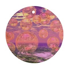 Glorious Skies, Abstract Pink And Yellow Dream Round Ornament (two Sides) by DianeClancy