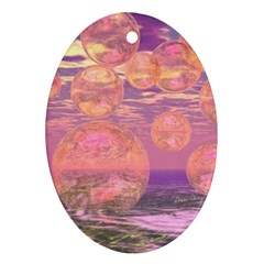 Glorious Skies, Abstract Pink And Yellow Dream Oval Ornament (two Sides) by DianeClancy