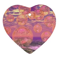 Glorious Skies, Abstract Pink And Yellow Dream Heart Ornament (two Sides) by DianeClancy