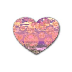 Glorious Skies, Abstract Pink And Yellow Dream Drink Coasters (heart) by DianeClancy