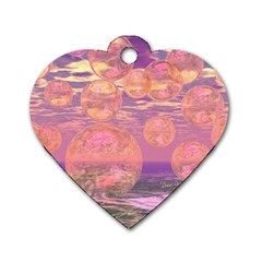 Glorious Skies, Abstract Pink And Yellow Dream Dog Tag Heart (two Sided) by DianeClancy