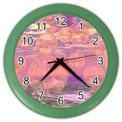 Glorious Skies, Abstract Pink And Yellow Dream Wall Clock (color) by DianeClancy