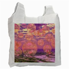 Glorious Skies, Abstract Pink And Yellow Dream White Reusable Bag (one Side) by DianeClancy