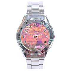Glorious Skies, Abstract Pink And Yellow Dream Stainless Steel Watch by DianeClancy