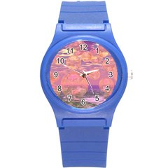 Glorious Skies, Abstract Pink And Yellow Dream Plastic Sport Watch (small) by DianeClancy