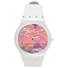 Glorious Skies, Abstract Pink And Yellow Dream Plastic Sport Watch (medium) by DianeClancy