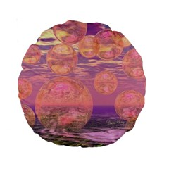 Glorious Skies, Abstract Pink And Yellow Dream 15  Premium Round Cushion  by DianeClancy