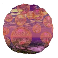 Glorious Skies, Abstract Pink And Yellow Dream 18  Premium Round Cushion  by DianeClancy