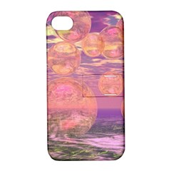 Glorious Skies, Abstract Pink And Yellow Dream Apple Iphone 4/4s Hardshell Case With Stand by DianeClancy