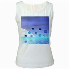Moonlight Wonder, Abstract Journey To The Unknown Women s Tank Top (white) by DianeClancy