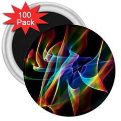 Aurora Ribbons, Abstract Rainbow Veils  3  Button Magnet (100 Pack) by DianeClancy