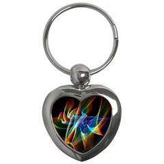 Aurora Ribbons, Abstract Rainbow Veils  Key Chain (heart) by DianeClancy