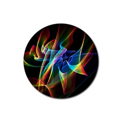Aurora Ribbons, Abstract Rainbow Veils  Drink Coaster (round) by DianeClancy