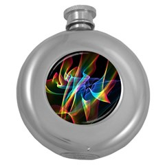 Aurora Ribbons, Abstract Rainbow Veils  Hip Flask (round) by DianeClancy