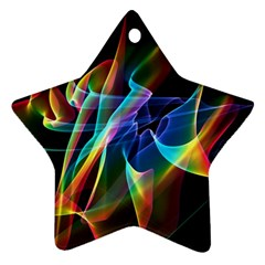 Aurora Ribbons, Abstract Rainbow Veils  Star Ornament (two Sides) by DianeClancy