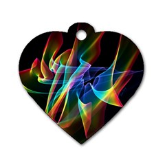 Aurora Ribbons, Abstract Rainbow Veils  Dog Tag Heart (one Sided)  by DianeClancy
