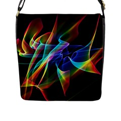 Aurora Ribbons, Abstract Rainbow Veils  Flap Closure Messenger Bag (large) by DianeClancy