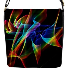 Aurora Ribbons, Abstract Rainbow Veils  Flap Closure Messenger Bag (small) by DianeClancy