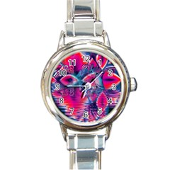 Cosmic Heart Of Fire, Abstract Crystal Palace Round Italian Charm Watch by DianeClancy