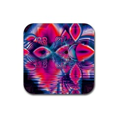 Cosmic Heart Of Fire, Abstract Crystal Palace Drink Coaster (square) by DianeClancy