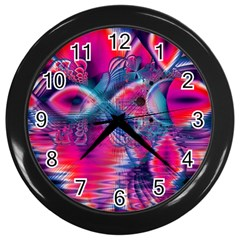 Cosmic Heart Of Fire, Abstract Crystal Palace Wall Clock (black) by DianeClancy