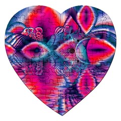 Cosmic Heart Of Fire, Abstract Crystal Palace Jigsaw Puzzle (heart) by DianeClancy