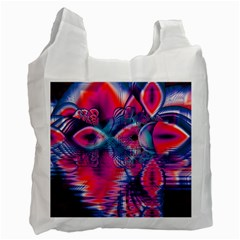 Cosmic Heart Of Fire, Abstract Crystal Palace White Reusable Bag (one Side) by DianeClancy