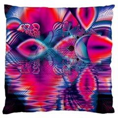 Cosmic Heart Of Fire, Abstract Crystal Palace Large Cushion Case (single Sided)  by DianeClancy
