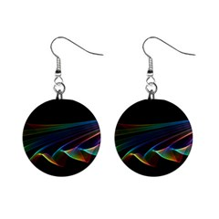 Flowing Fabric Of Rainbow Light, Abstract  Mini Button Earrings by DianeClancy