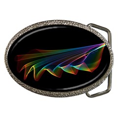 Flowing Fabric Of Rainbow Light, Abstract  Belt Buckle (oval) by DianeClancy