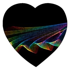 Flowing Fabric Of Rainbow Light, Abstract  Jigsaw Puzzle (heart)