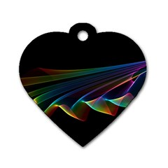 Flowing Fabric Of Rainbow Light, Abstract  Dog Tag Heart (two Sided) by DianeClancy