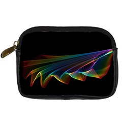 Flowing Fabric Of Rainbow Light, Abstract  Digital Camera Leather Case by DianeClancy