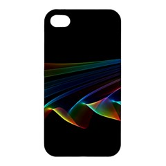 Flowing Fabric Of Rainbow Light, Abstract  Apple Iphone 4/4s Premium Hardshell Case by DianeClancy