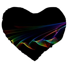 Flowing Fabric Of Rainbow Light, Abstract  19  Premium Heart Shape Cushion