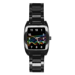 Flowing Fabric Of Rainbow Light, Abstract  Stainless Steel Barrel Watch by DianeClancy