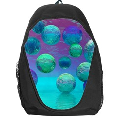 Ocean Dreams, Abstract Aqua Violet Ocean Fantasy Backpack Bag by DianeClancy
